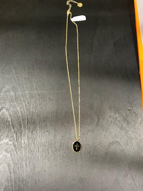 Collier médaille croix noir