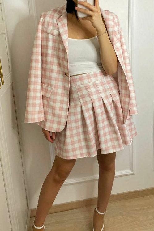 Jupe plissée à carreaux rose