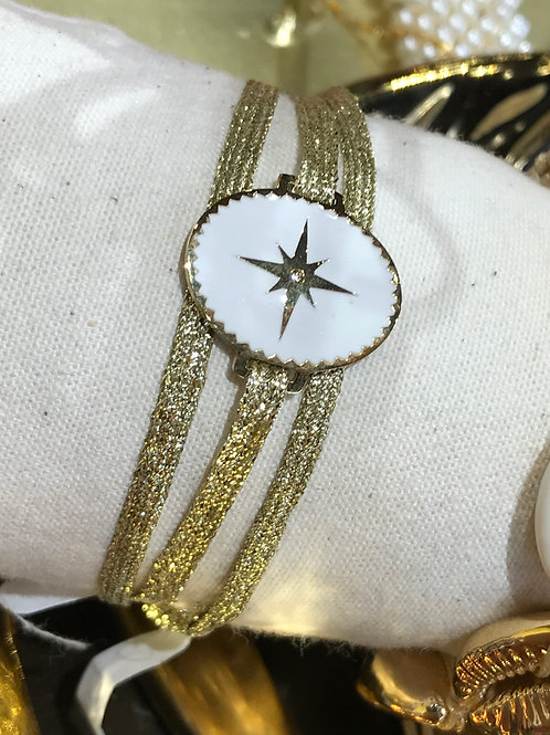 Bracelet 3 tours or et blanc