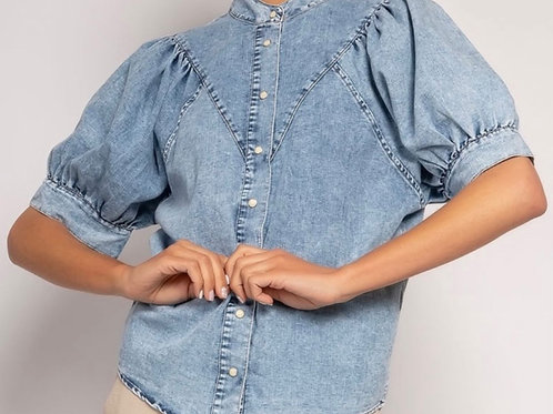 Chemise en jean manche bouffante