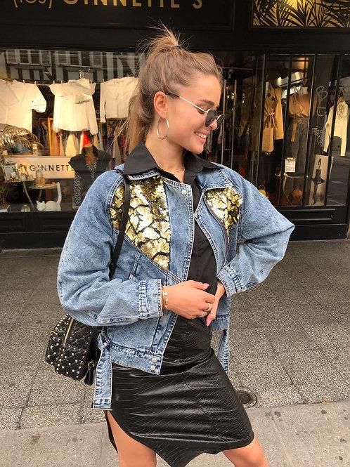 Veste jean loose avec sequins or
