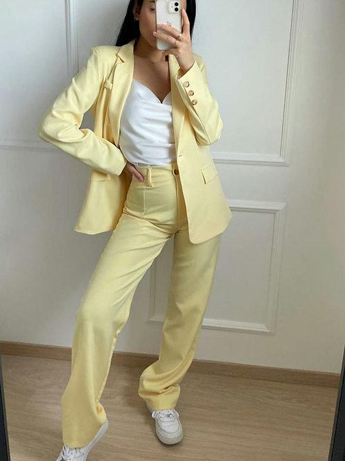 Pantalon coupe droite jaune