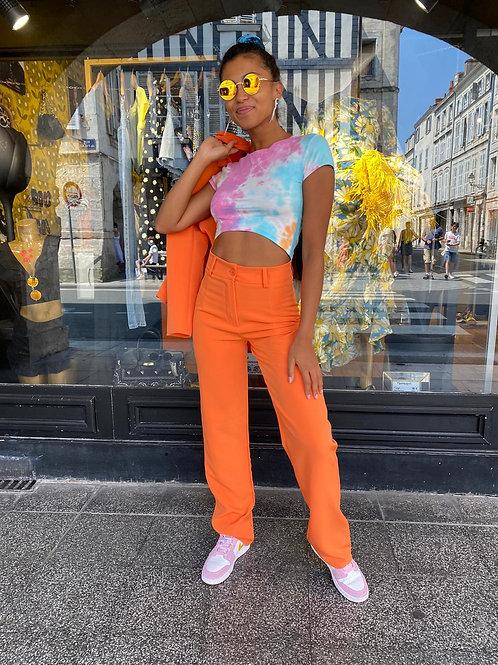 Pantalon tailleur orange