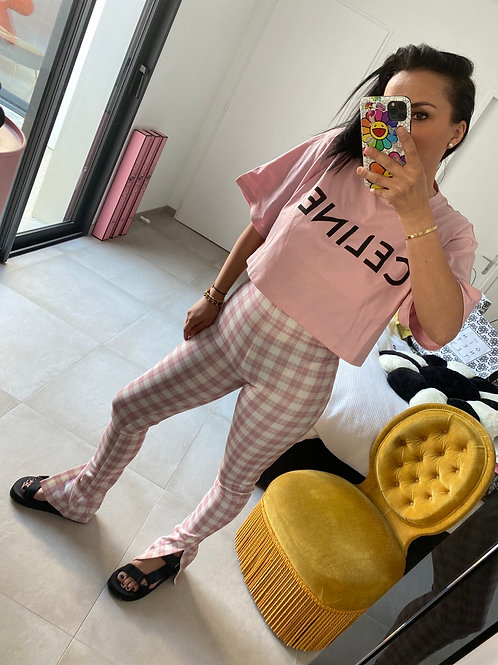 Pantalon à carreaux rose et blanc