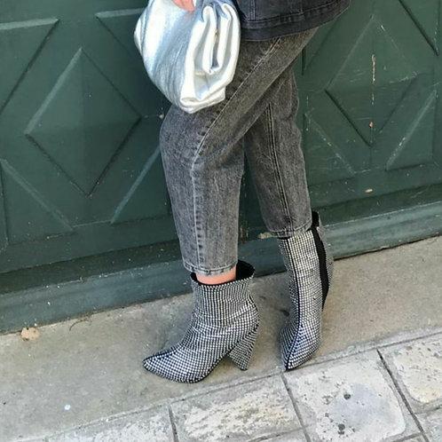 Boots pointu à strass