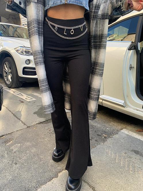 Pantalon taille haute évasé et fendu