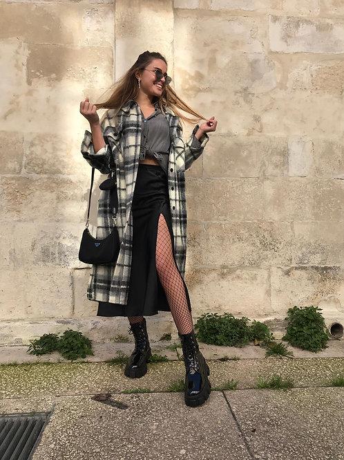 Manteau long en laine noir et écru