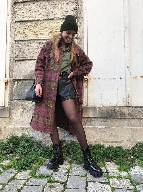 Manteau long en laine bordeau et kaki