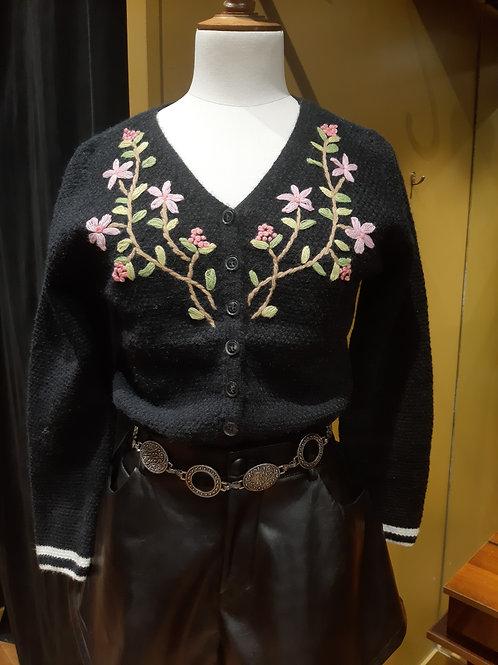 Gilet noir  brodé fleuries