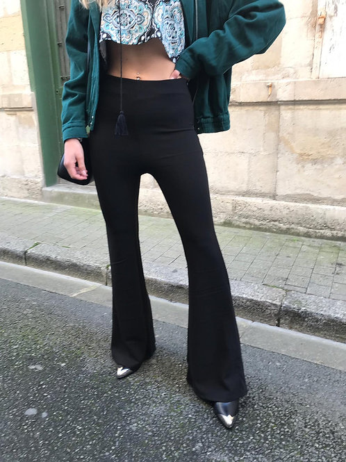 Pantalon flare stretch noir