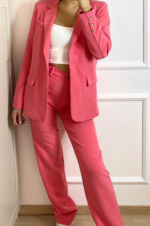 Pantalon taille haute rose fushia