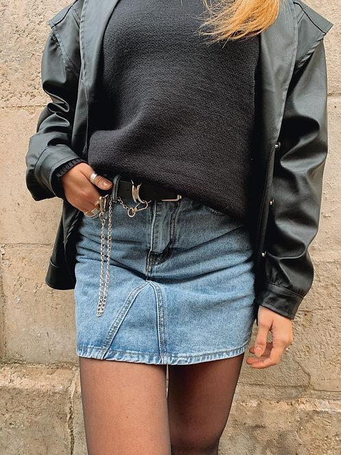 Jupe short en jean bi colore avec ceinture