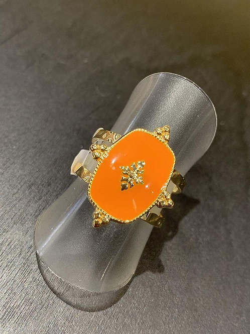 Bague orange et dorée