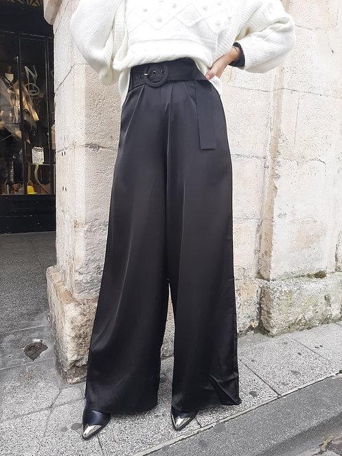 Pantalon flare taille haute satin