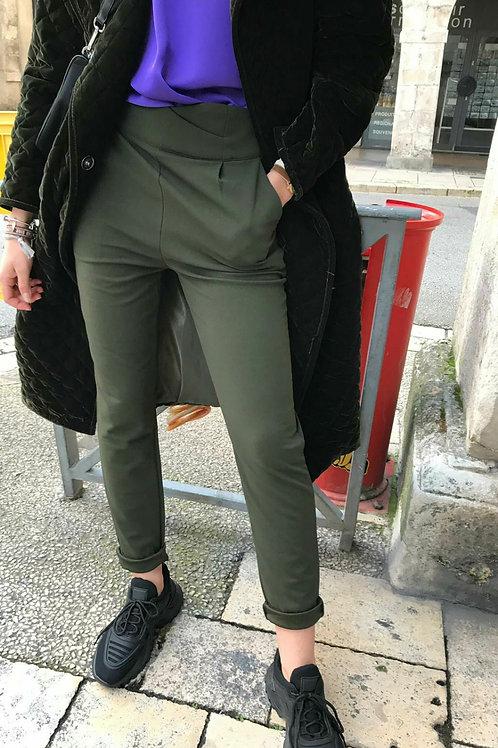 Pantalon taille haute kaki
