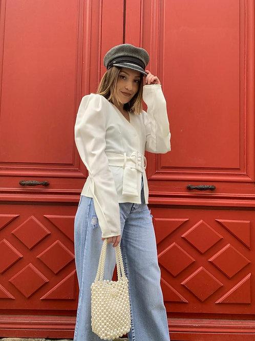 Chemise veste blanche avec ceinture