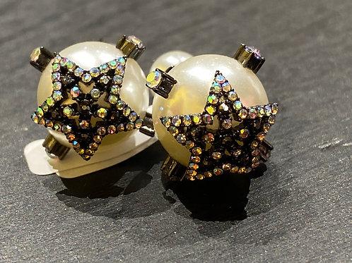 Boucle d'oreilles perle et étoile avec strass