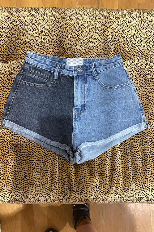 Short en jean bi color