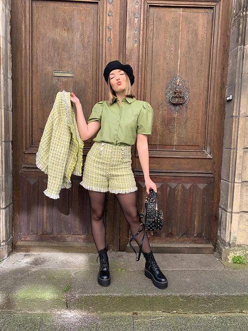 Short en tweed beige et vert