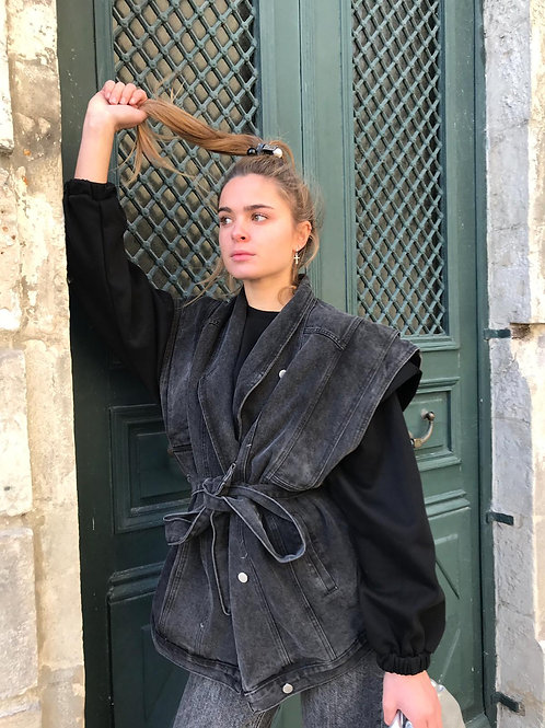Veste denim noir avec épaule structuré