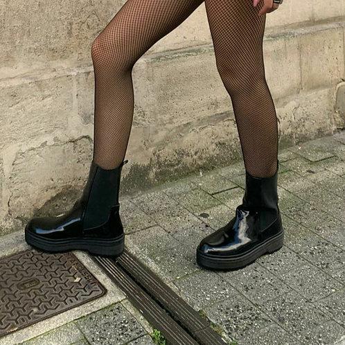 Boots vernis avec élastique