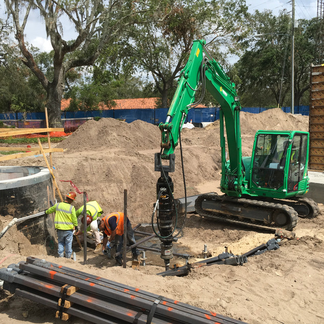 Pulldown Pile Install for Hospital Foundation