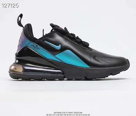 Nike Air Max 270 Leather Black Blue Running Shoes