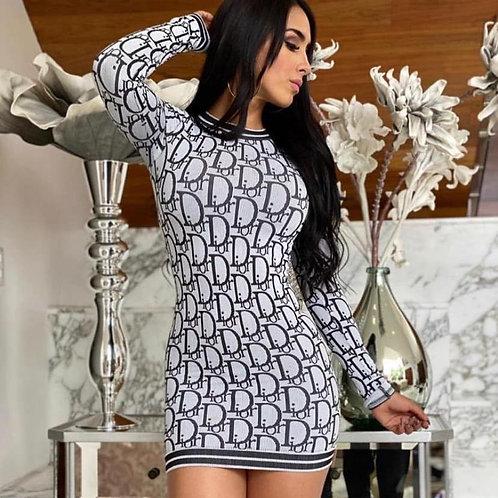 Women Fashion Letter Printing Bodycon Dress