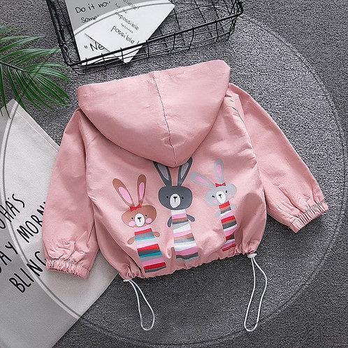 Wholesale Girls Cute Cartoon Printed Hooded Coat