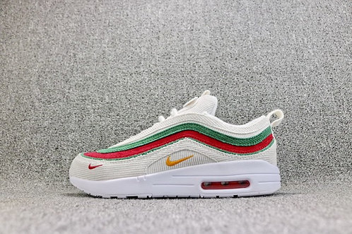 Mens Womens Nike Air Max 1/97 VF SW Hybrid White Green Red AJ4219 163 Running Sh
