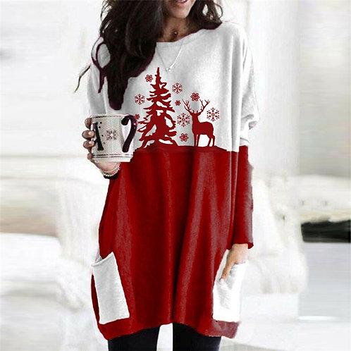Women Christmas Plus Size Cartoon Printed Color Blocking Long Sleeve Dress
