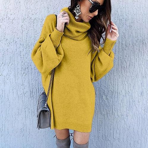 Women Fashion Solid Color Heap Neck Knit Dress