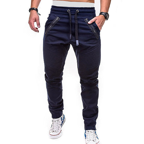 Zipper Crease Design Men Casual Sports Pants