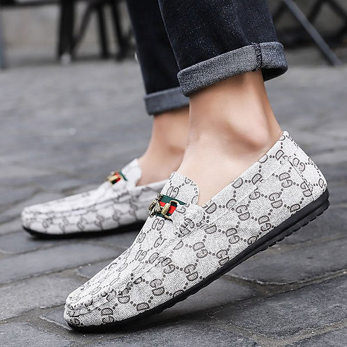 Fashion Plaid Printed Round Toe Men Casual Loafers Shoes