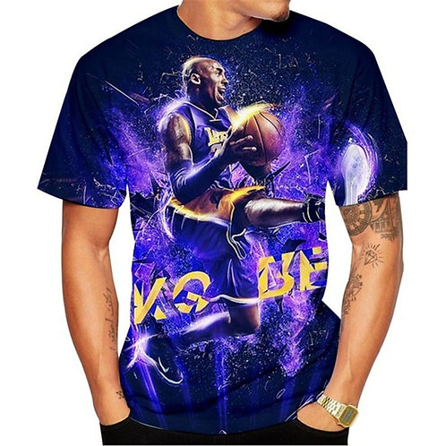 Men Fashion Round Neck Digital Print Short Sleeve T-Shirt