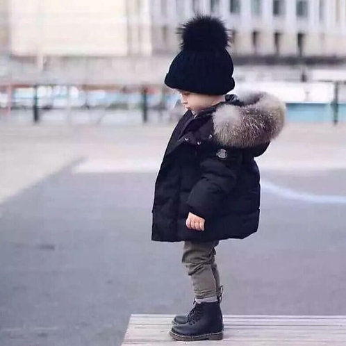 Wholesale Kids Solid Color Single Row Button Hooded Quilted Jacket
