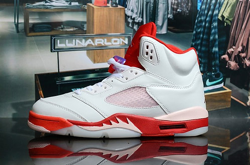 "Nike Air Jordan 5 Retro ""White/Gym Red/Pink Foam"" Mens Basketball Sneakers"