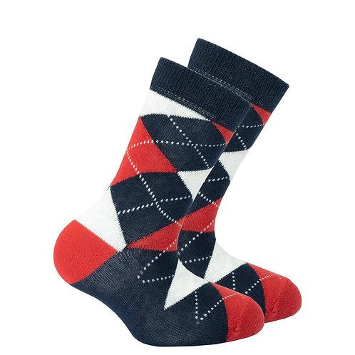 Kids Denim Argyle Socks