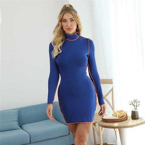 Women Fashion Long Sleeve Patchwork Mini Dress