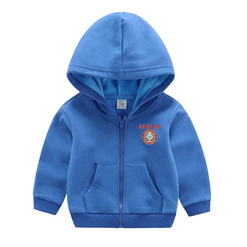 Kids Letter Printed Zipper Hooded Coat
