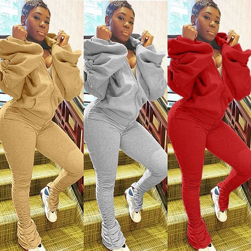 Women Fashion Solid Color Backless Puff Sleeve Top And Pants Two Piece Set