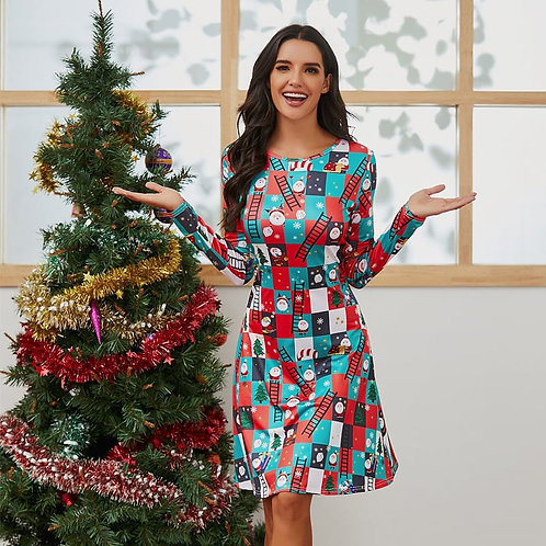 Women Christmas Santa Printed Long Sleeve Round Neck Dress
