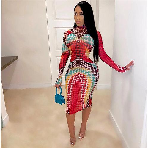 Women Sexy Multicolor Polka Dot Printing Long Sleeve Midi Dress