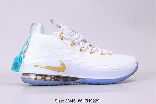 Nike LeBron 15 White Gold Mens Running Shoes