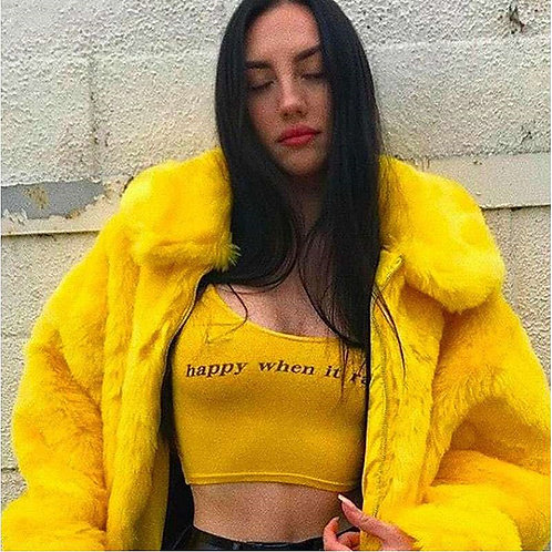 Women Fashion Bright Yellow Lapel Teddy Coat