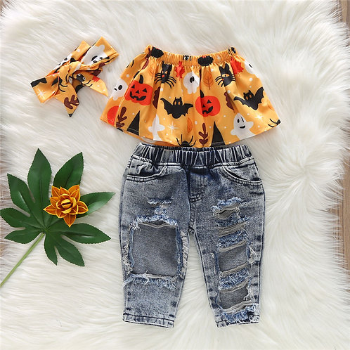 Girl Printed Off-The-Shoulder Tops And Ripped Jeans With Headband Set