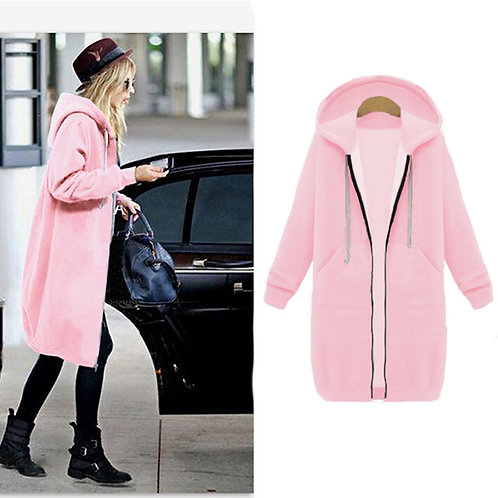 Women Fashion Long Sleeve Zipper Hooded Coats