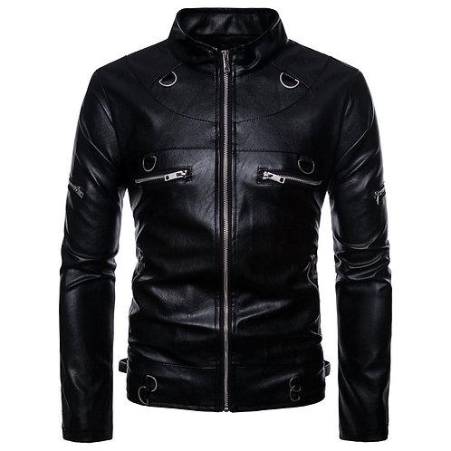 Men Standing Collar Zipper Design PU Jacket