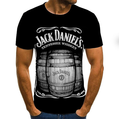 Men Fashion Round Neck Digital Print Short Sleeve T-Shirt