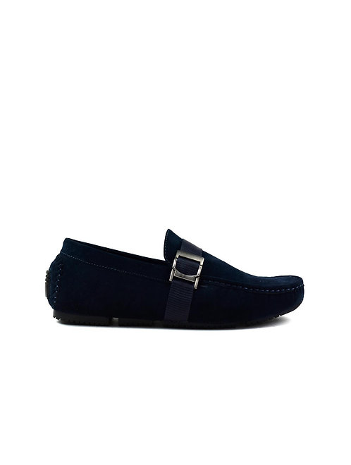 Men's Buckle Strap Loafer Navy